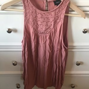 MOSSIMO pink lace tank top